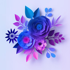 3d render, blue violet neon paper flowers, floral bouquet isolated on white background, botanical wall decor, decorative design