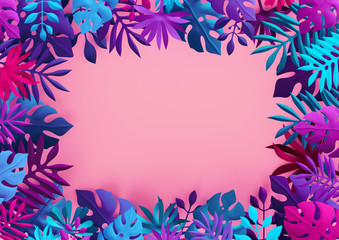 3d render, neon pink blue tropical background, colorful paper leaves, jungle frame, blank banner,...