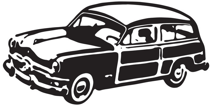 Woody Wagon  - Retro Ad Art Banner