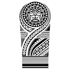 Polynesian tattoo sleeve shoulder pattern vector, samoan forearm and foot design, maori tattoo tribal ornament