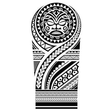 Polynesian tattoo sleeve shoulder pattern vector, samoan forearm and foot design, maori tattoo tribal ornament