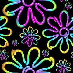 Tuinposter Draw Daisy Spring Flower Psycnedelic Neon Light Vector Seamless Pattern Design