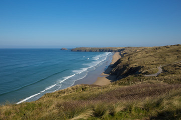 Fototapete - Penhale sands Perranporth North Cornwall England UK viewed from the coast path