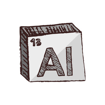 Vector three-dimensional hand drawn chemical gray silver symbol of aluminium with an abbreviation Al from the periodic table of the elements isolated on a white background.