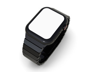 Smart watch similar to Apple Watch 4, black. Perspective on white background. White screen display for mockups. 3D rendering