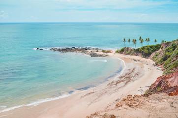 Top view of Praia de Tabatinga at Costa do Conde, Conde PB, Brazil. View of a northeastern Brazilian beach, the sea and nature around.