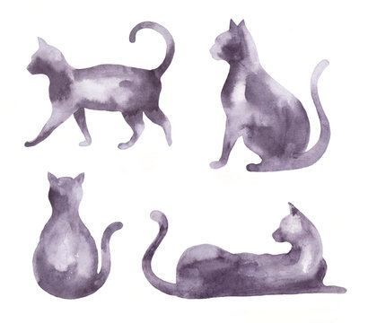Watercolor set of silhouettes of cats