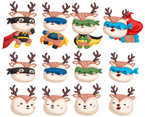 a vector collection of deers in superhero costume