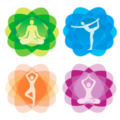 Yoga positionson icons on decorative backgrounds. Set of yoga icons on colorful decorative abstrtract background.Isolated on white background. Vector available.