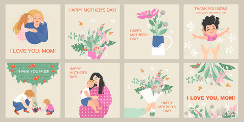 Mother's day card set with cute cartoon characters and bouquets of flowers