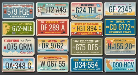 Abscract vehicle registration number plates