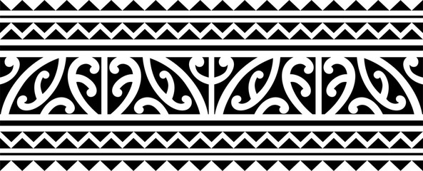 Polynesian tattoo sleeve pattern vector, samoan forearm and foot design, maori bracelet armband tattoo tribal, band fabric seamless ornament