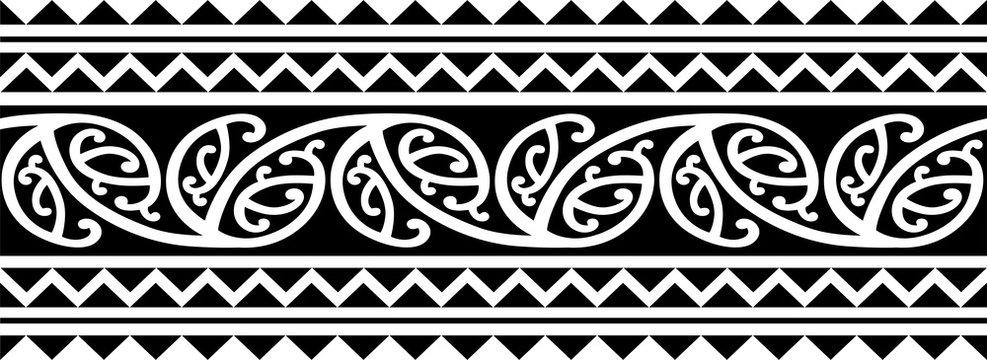 Polynesian tattoo sleeve pattern vector, samoan forearm and foot design, maori bracelet armband tattoo tribal, band fabric seamless ornament