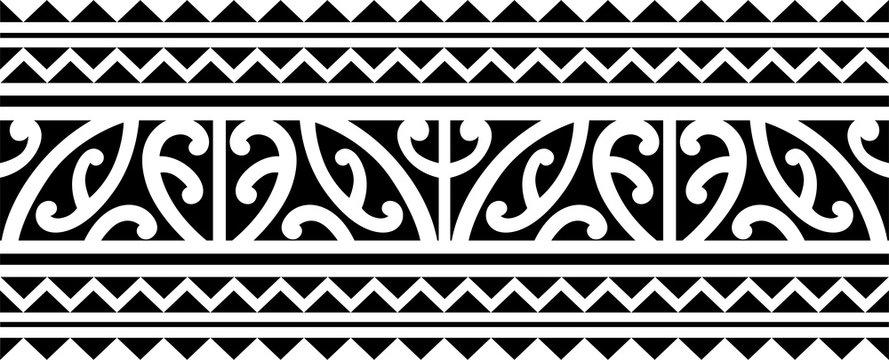 Polynesian maori tattoo sleeve pattern vector, samoan forearm and foot design, maori bracelet armband tattoo tribal, band fabric seamless ornament