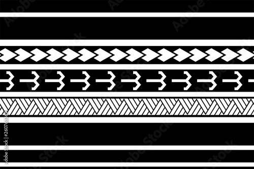 Polynesian tattoo sleeve pattern vector, samoan forearm and