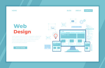 Web Design. Website template for monitor, laptop, tablet, phone. Elements for mobile and web applications. User Interface UI and User Experience UX content organization. landing page, banner. Vector Wall mural
