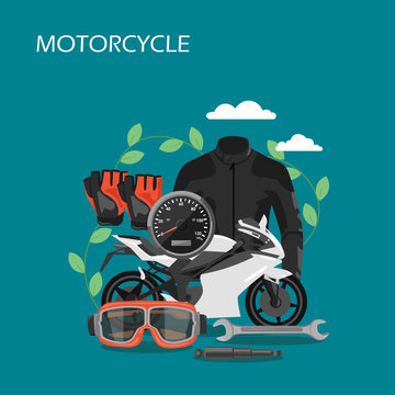 Motorcycle accessories vector flat style design illustration