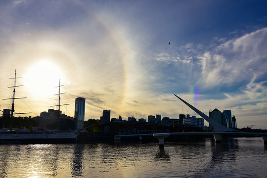 sunset with solar halo in Puerto Madero, Buenos Aires, Argentina