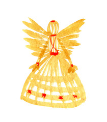 Straw doll with wings.  Hand drawn watercolor illustration straw toys of hay.