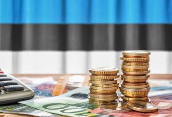 Fotomurales - Geldscheine und Münzen vor der Nationalflagge Estlands