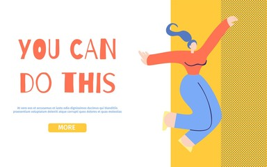 You Can Do This Motivation Landing Page Flat Style