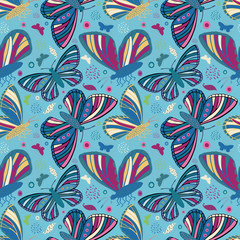 Multicolor folk art style hand drawn butterflies. Seamless vector pattern on textured blue background. Great for wellbeing, baby, children, garden, summer, kitchen products, packaging, stationery