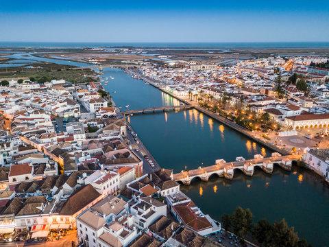 Aerial cityscape of beautiful Tavira in the evening, Algarve, Portugal