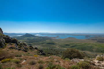 Spoed Foto op Canvas Grijze traf. View of the La Serena Reservoir from the viewpoint of the Castle of Puebla de Alcocer