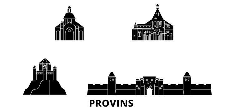 France, Provins flat travel skyline set. France, Provins black city vector panorama, illustration, travel sights, landmarks, streets.