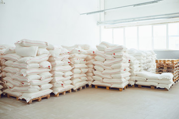 Storage with bags of flour.
