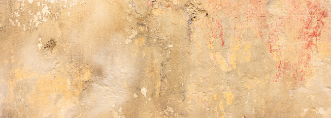 Beige color, painted and faded wall texture grunge background