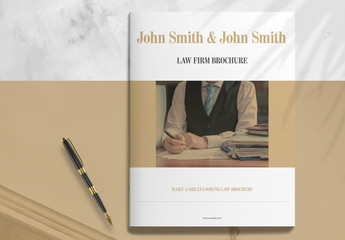 Law Firm Booklet Layout with Brown Accents