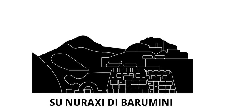 Italy, Barumini, Su Nuraxi Di Barumini  flat travel skyline set. Italy, Barumini, Su Nuraxi Di Barumini  black city vector panorama, illustration, travel sights, landmarks, streets.