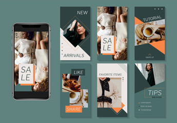 Fashion Lifestyle Social Media Set Layout with Green Elements