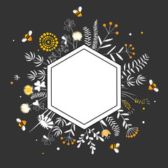 Wall Mural - Stylish Hexagon Frame with cute honey flowers and bees. Premium quality Honey Label. Cartoon vector