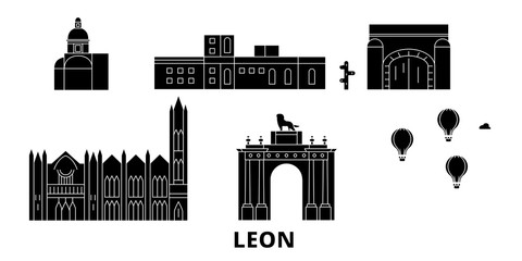 Mexico, Leon flat travel skyline set. Mexico, Leon black city vector panorama, illustration, travel sights, landmarks, streets.