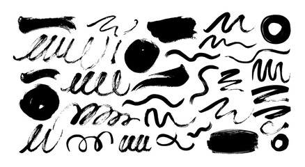 Black dry brushstrokes hand drawn set. Grunge smears collection with curled lines and circles.