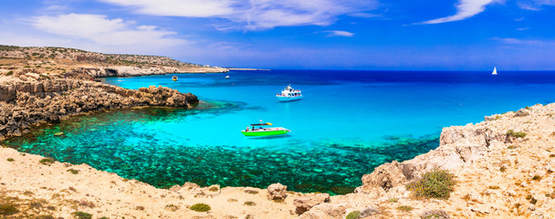 Best beaches of Cyprus island. Outstanding beauty and cystal clear waters, Cape Greco bay