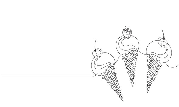 Ice cream with berries.  Sketch. Draw a continuous line. Decor.