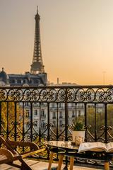 Foto auf Gartenposter Paris beautiful paris balcony at sunset with eiffel tower view