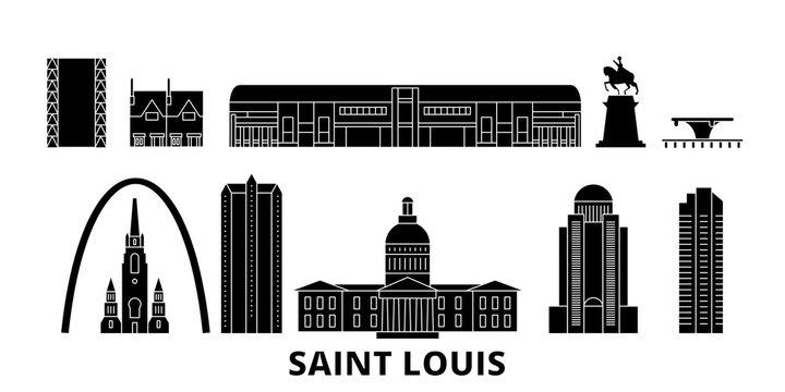 United States, Saint Louis flat travel skyline set. United States, Saint Louis black city vector panorama, illustration, travel sights, landmarks, streets.