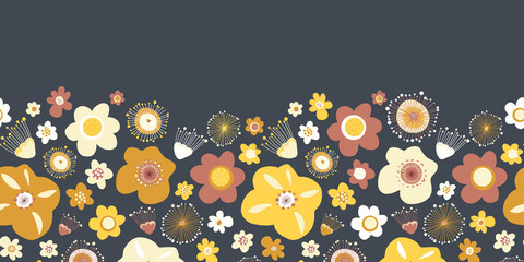 Scandinavian flowers seamless vector border. Repeating background.