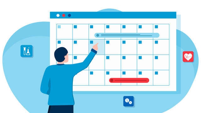 A man makes an appointment with an online doctor. On the calendar selects the desired date. calendar. work schedule, make an appointment online. Vector illustration for banner, landing page, app