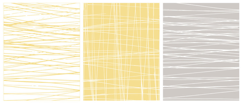 Set o 3 Abstract Geometric Layouts. Irregular Hand Drawn Scribbles on White, Yellow and Light Gray Backgrounds. Funny Simple Creative Design. Infantile Style Stripes and Mesh Graphic.