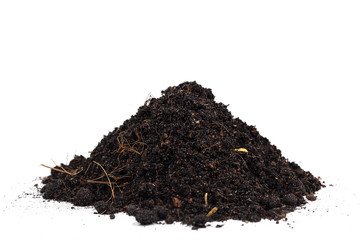 Pile of soil isolated on white background.
