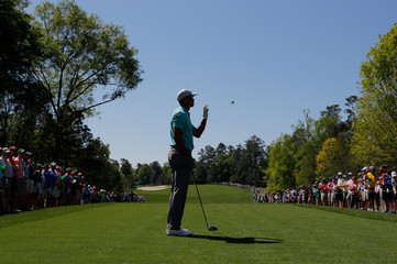 Tiger Woods of the U.S. ask for another ball during the final day of practice for the 2019 Master golf tournament at the Augusta National Golf Club in Augusta, Georgia, U.S.