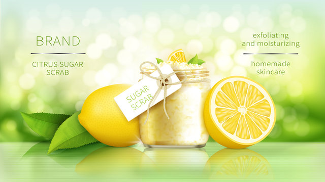 Sugar scrub with lemon, cosmetics for smooth skin, vector realistic ads poster. Glass jar with organic exfoliator and ripe citrus fruits, yellow lemon and green leaves on natural background with light