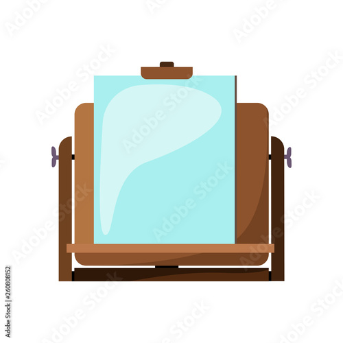 Easel with paper flat icon  Sketching, drawing, art class