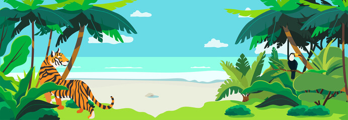 Tropic landscape with the view on the seashore. Exotic animals and birds in the tropical forest. Creative banner, flyer, blog post or landing page for a travel agency, tour operator. Summer theme.