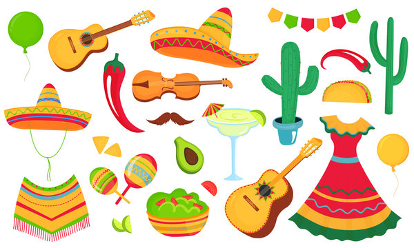 Cinco de Mayo. A large set of decorative elements for the design of a poster, banner, flyer, greeting card, advertising for the national Mexican holiday. Musical instruments, local food, clothing.